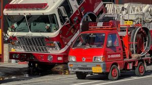 A Daihatsu kei fire truck is making friends all over San Francisco